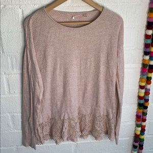 Anthro Knitted & Knotted Pink Crochet Cashmere